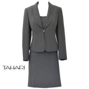 TAHARI 3-Piece Black Pinstripe Skirted Suit